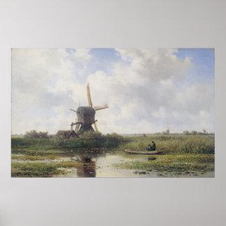 Niederländische Windmühle nahe Gein Fluss, Willem Poster