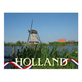 Niederländische Windmühlen-Gelb-Blumen-Postkarte Postkarte