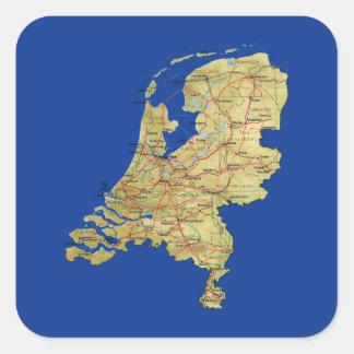 Niederländischer Karten-Aufkleber Quadratischer Aufkleber