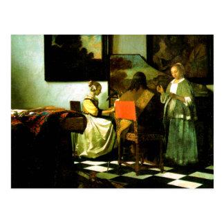 Niederländischer Künstler Vermeer, der das Konzert Postkarte