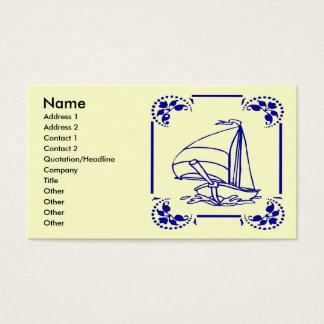 Niederländisches blaues Segelboot, Visitenkarte