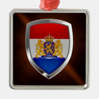 Niederländisches metallisches Emblem Quadratisches Silberfarbenes Ornament