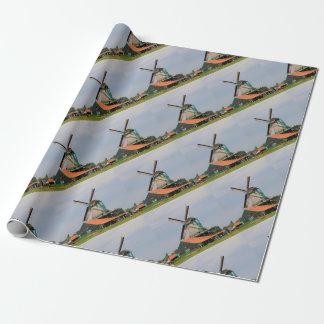 Niederländisches Windmühlendorf, Holland 3 Geschenkpapier