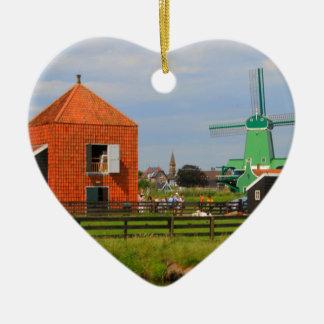 Niederländisches Windmühlendorf, Holland 4 Keramik Ornament