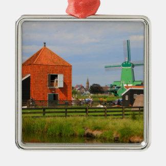 Niederländisches Windmühlendorf, Holland 4 Silbernes Ornament