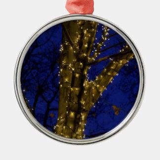 Niederlassungen mit Weihnachtslichtern und einem Silbernes Ornament