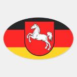Niedersachsen Flagge mit Wappen Ovaler Aufkleber