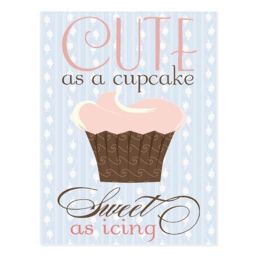 Niedlich als kleiner Kuchen! Rosa u. Brown Postkarten