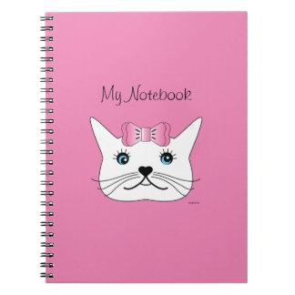 Niedlich-Mädchen-Katze-mit-Rosa-Bogen Spiral Notizblock