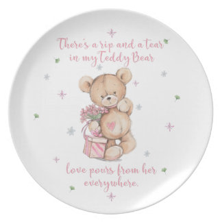 Niedlich, schäbig, Watercolor Teddy-Bär Teller