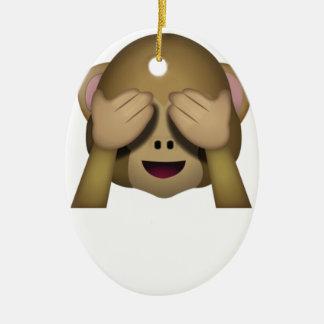 Niedlich sehen Sie keinen schlechten Affen Emoji Ovales Keramik Ornament