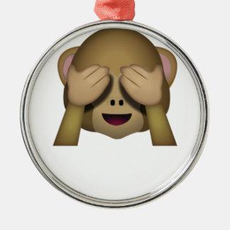 Niedlich sehen Sie keinen schlechten Affen Emoji Silbernes Ornament