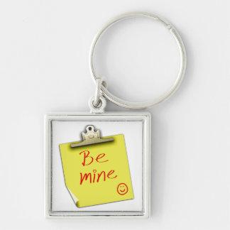 Niedlich seien Sie Bergwerk-Liebe-Anmerkung Silberfarbener Quadratischer Schlüsselanhänger