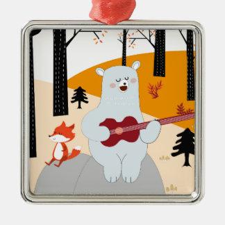 Niedlich singen Sie einen Sommerlied-Fuchswolf und Silbernes Ornament