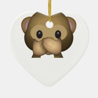 Niedlich sprechen Sie keinen schlechten Affen Keramik Herz-Ornament