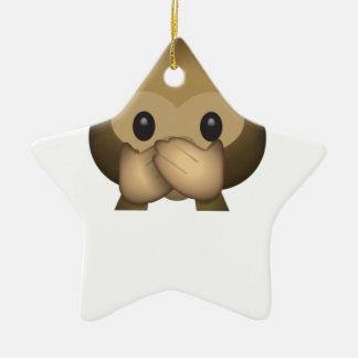 Niedlich sprechen Sie keinen schlechten Affen Keramik Stern-Ornament