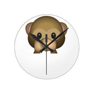 Niedlich sprechen Sie keinen schlechten Affen Runde Wanduhr