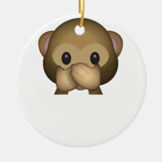 Niedlich sprechen Sie keinen schlechten Affen Rundes Keramik Ornament
