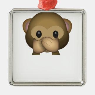 Niedlich sprechen Sie keinen schlechten Affen Silbernes Ornament