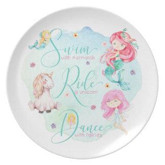 Niedlich, Watercolor Meerjungfrauen, Unicorn, Feen Melaminteller