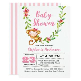 Niedliche Affe-Mädchen-Baby-Duschen-Einladung Karte
