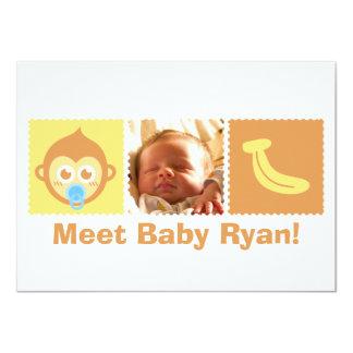 Niedliche Affe-und Bananen-Baby-Dusche 11,4 X 15,9 Cm Einladungskarte