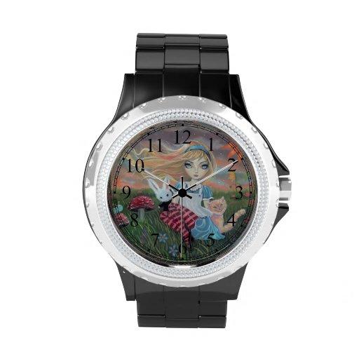 Niedliche Alice im Wunderland-Fantasie-Kunst Armbanduhr