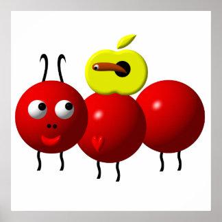 Niedliche Ameise mit Apfel Poster
