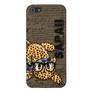 Niedliche Anime-Leopard-Nerd-Gläser iPhone 5 Hüllen