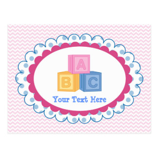 Niedliche Baby ABC-Blöcke Postkarte