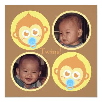 Niedliche Baby-Affe-Zwillinge mit Quadratische 13,3 Cm Einladungskarte