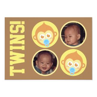 Niedliche Baby-Affe-Zwillinge mit 12,7 X 17,8 Cm Einladungskarte