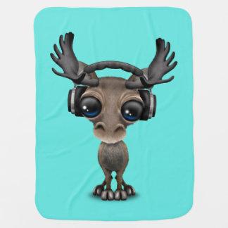 Niedliche Baby-Elch-tragende Kopfhörer Kinderwagendecke