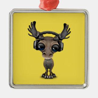 Niedliche Baby-Elch-tragende Kopfhörer Quadratisches Silberfarbenes Ornament