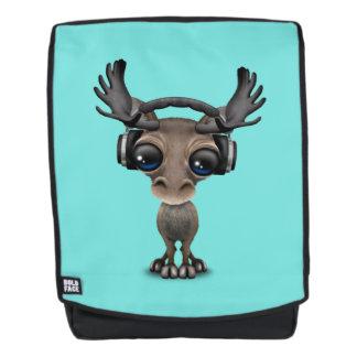 Niedliche Baby-Elch-tragende Kopfhörer Rucksack