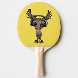 Niedliche Baby-Elch-tragende Kopfhörer Tischtennis Schläger