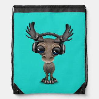 Niedliche Baby-Elch-tragende Kopfhörer Turnbeutel