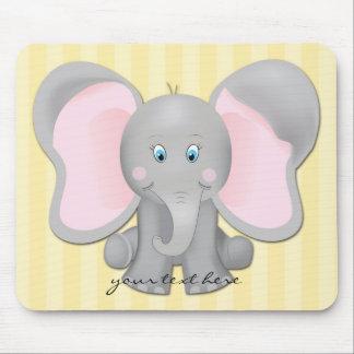 Niedliche Baby-Elefant-Büro-oder Zuhause-gelbe Mauspad