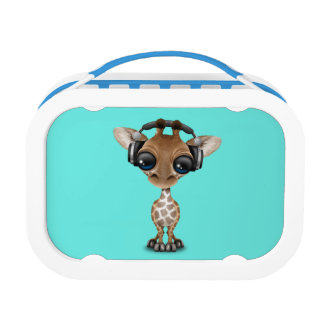 Niedliche Baby-Giraffen-tragende Kopfhörer Brotdose