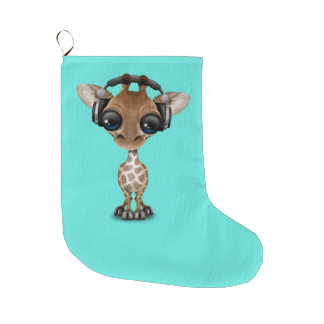 Niedliche Baby-Giraffen-tragende Kopfhörer Großer Weihnachtsstrumpf