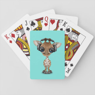 Niedliche Baby-Giraffen-tragende Kopfhörer Spielkarten