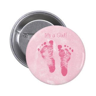 Niedliche Baby-Mädchen-Abdruck-Geburts-Mitteilung Anstecknadelbuttons