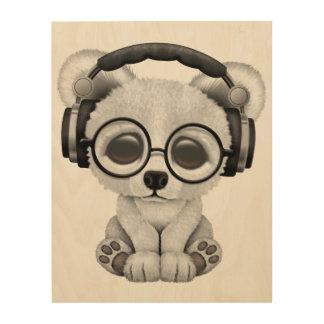 Niedliche Baby-polarer Bärn-tragende Kopfhörer Holzleinwand