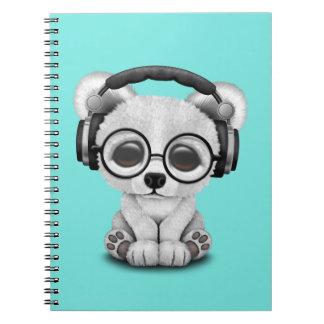 Niedliche Baby-polarer Bärn-tragende Kopfhörer Spiral Notizblock