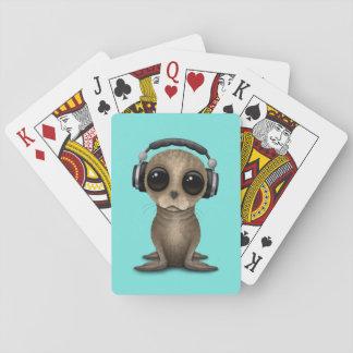 Niedliche Baby-Seelöwe tragende Kopfhörer Spielkarten