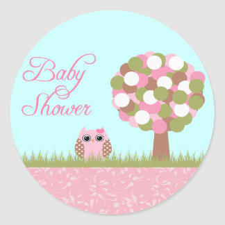Niedliche Babyduschenrosaeulen- und -baumaufkleber Runde Sticker