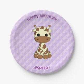 Niedliche Babygiraffen-Cartoon-Geburtstagskinder Pappteller