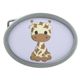 Niedliche Babygiraffen-Cartoonmädchen Ovale Gürtelschnallen