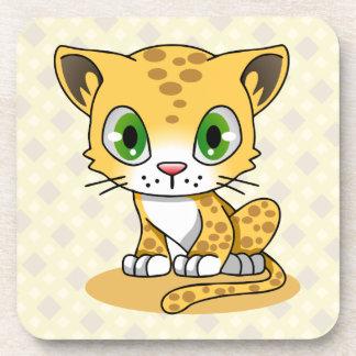 Niedliche Babykatzenleopard-Cartoonkinder Untersetzer