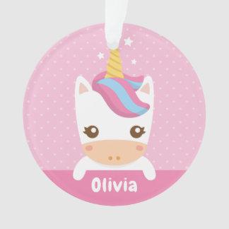 Niedliche Babyunicorn-Mädchen-personalisierte Ornament